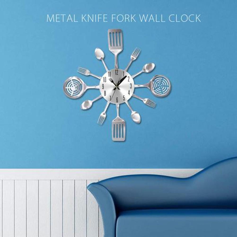 Cutlery Design Wall Clock Metal Knife Fork Spoon Kitchen Clocks ...