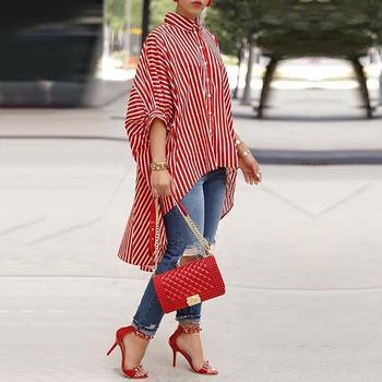 Plus Size Summer Women Elegant Office Workwear Blouse 2020 Female Striped Print Top Batwing Half Sleeve Dip Hem Loose Long Shirt figure print batwing sleeve top