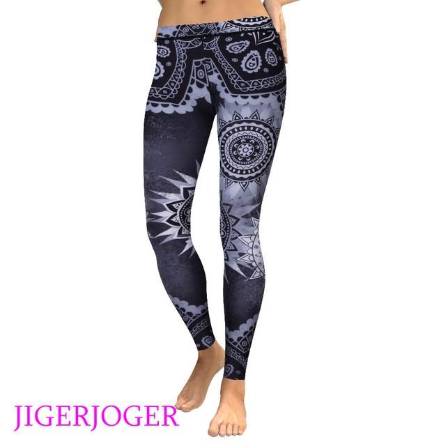 078529b034eed7 JIGERJOGER Winter High waist Dark grey mandala flowers printed Women's Yoga  leggings activewear free drop shipping leggings pant