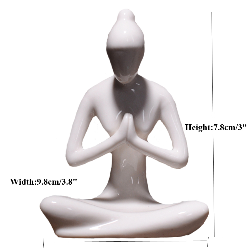 12 Styles Abstract Art Ceramic Yoga Poses Figurine Porcelain Lady Figure Statue