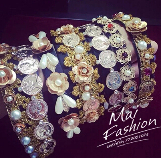 big brand Baroque palace retro metal flower hair band headband wide retro-dimensional carved coiffure queen coins