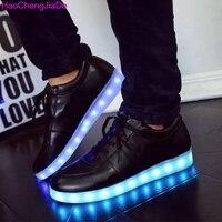 HaoChengJiaDe Illuminated Krasovki Luminous Sneakers Glowing Kids Shoe Children With Led Light Up Fashion Sneaker For