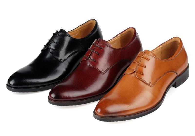 Brown tan /brown / Black mens wedding shoes fashion mens business shoes genuine leather mens dress shoes
