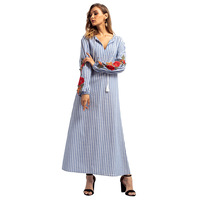 Summer Autumn Women Casual Maxi Dress Robe Gowns Tunic Striped V Neck Lace Up Appliques Pleated Muslim Dress Abayas