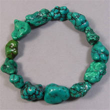 BB-238  Tibet natural Turquoise nugget beads bracelet stretch,good wrist mala for man,best offer цены