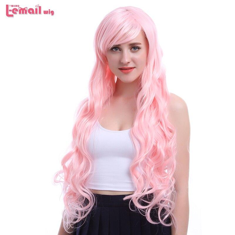L-email перуку Новий 80 см / 31.5 дюймів довгі жінки парики колір рожеві хвилі жаростійкі синтетичні волосся Perucas косплей перуку