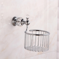 Crystal Brass Roll Paper Storage Basket Toilet Tissue Paper Holder Wall Mounted Rack