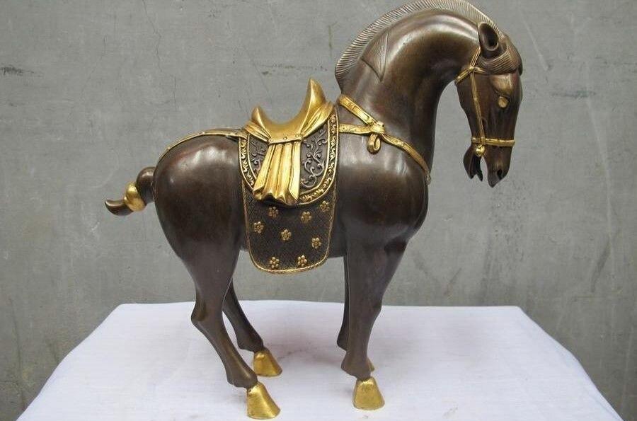 Royal 100% Purple Bronze 24K Gold Gild Tang Horse Lucky Wealth Feng Shui Statue