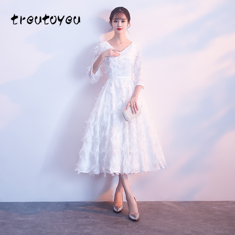 Treutoyeu 2018 White Dress Women Summer V Neck Elegance Temperament Solid Dress Sweet Half Sleeve A