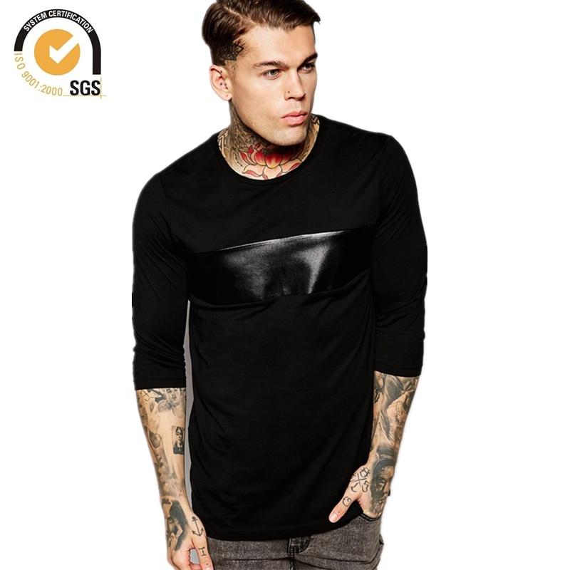 Para hombre 3 4 Camisetas Camisetas de Cuero de Imitación de Cuero de  Imitación Spliced Camiseta de Manga Larga Para Hombre Camiseta Hip Hop  Envío Gratis en ... cbad65099d4