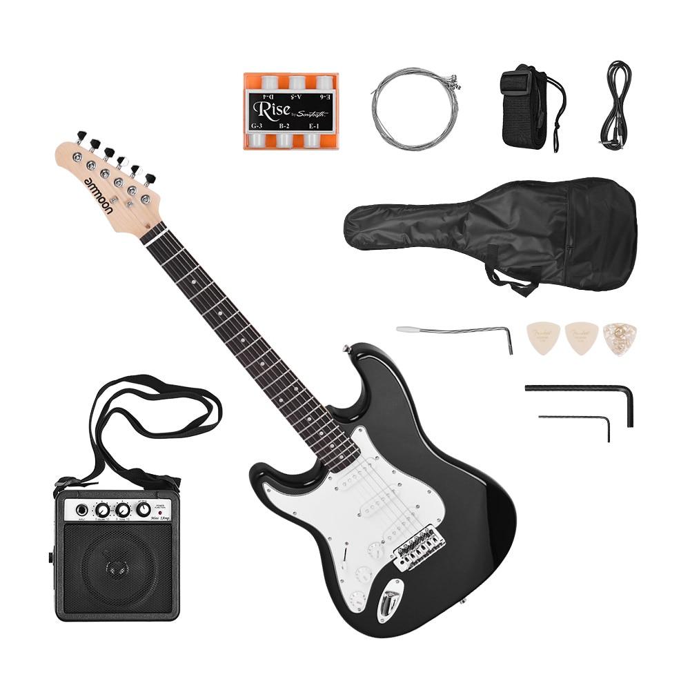 Ammoon guitare électrique 21 frettes 6 cordes Paulownia corps manche érable bois massif avec haut-parleur Pitch Pipe guitare sac sangle droite - 3