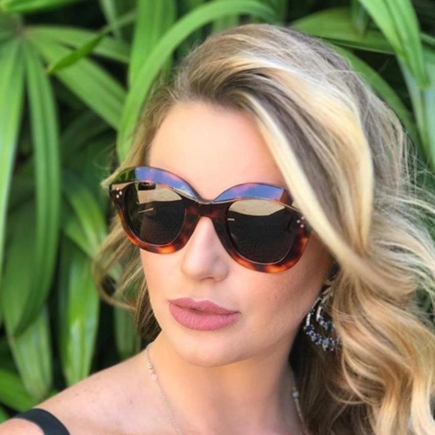 Sunglasses Women Oversized-Eyewear Pilot Oculos-De-Sol Polarized Frames For Black Multi-Brown