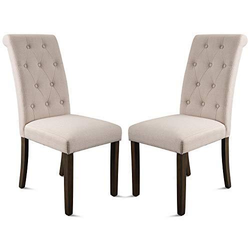 Juego de sillas comedor 2, muebles cocina Beige tapizado sin brazos Silla  con elegantes patas madera maciza