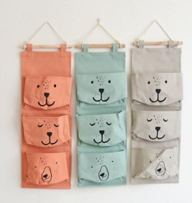 home decor zakka style cartoon door hanging bag cotton hanging organizer wall pockets on window stationery