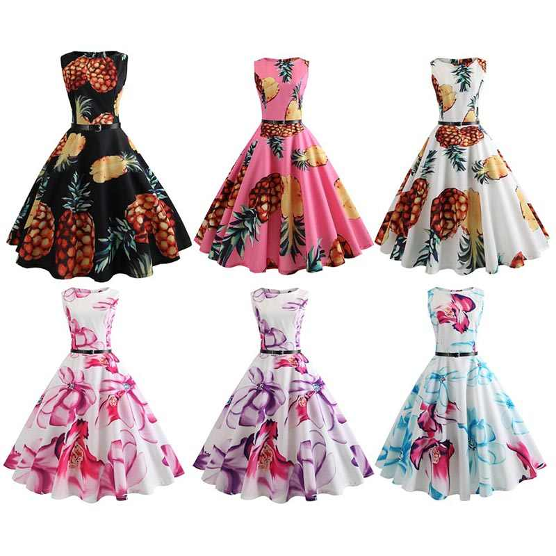 d444cfa80a8 ... Flower Floral Pineapple Vintage Dress Women Sexy Sleeveless A Line Club  Party Dresses 50s 60s Retro