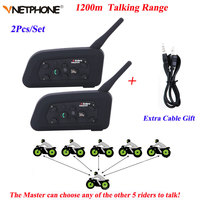 Vnetphone 2PCS V6 Motorcycle Bluetooth Helmet Intercom 1200M Moto Wireless BT Walkie Talkie V6 1200 Helmet