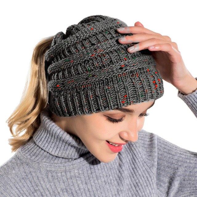 Cc Ponytail Beanie Hat Women Crochet Knit Cap Winter Skullies
