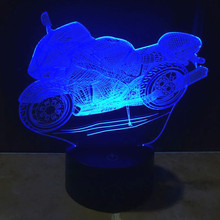 buy USB 3D Lamp motorcycle LED Night Light Cartoon 3D Car 7 Colors Acrylic Discoloration Colorful Atmosphere Novelty Light  IY803328,image LED lamps deals
