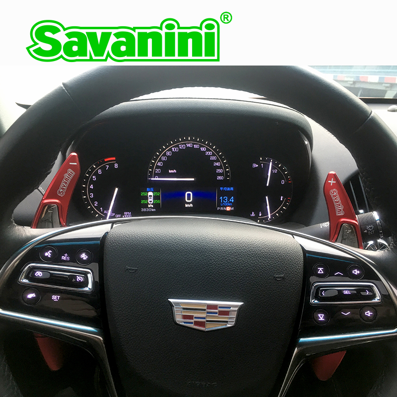 Savanini Aluminum Steering Wheel Shift Paddle Shifter Extension For Cadillac ATS 2014 2017 auto car accessories