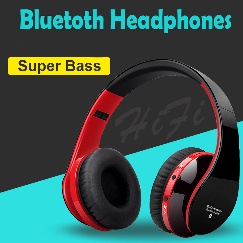 Blutooth Big Casque Audio Tanpa Wayar Wireless Headphone Headset Auriculares Bluetooth Earphone Untuk Komputer Ketua Telefon PC Dengan Mic