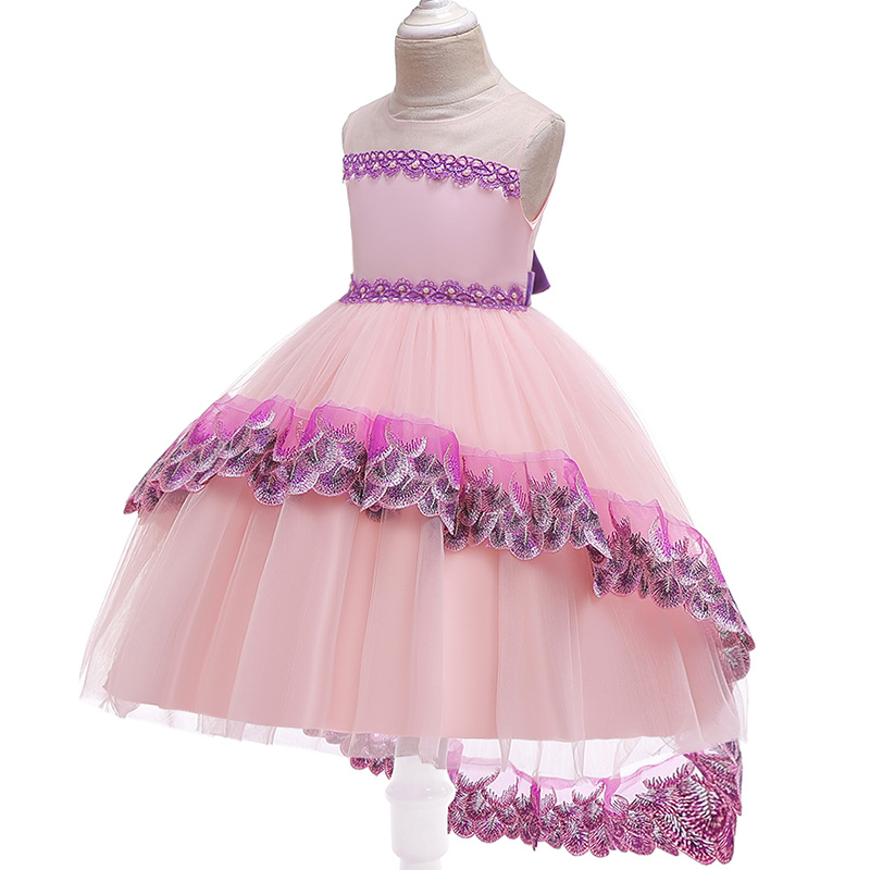 Trailing Embroidery Evening Wedding Flower Lace Girl Dresses For Wedding Girls Dress First Communion Princess Dress Baby Costume
