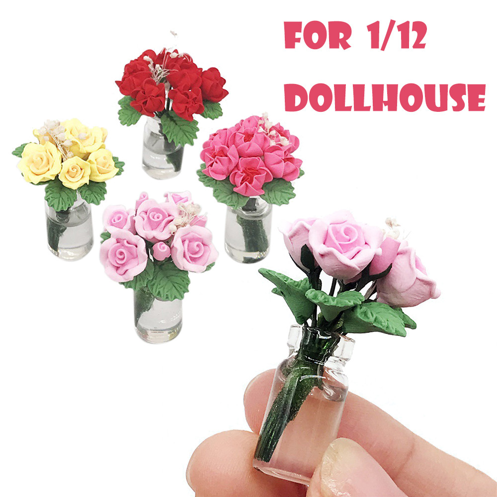 Mini Dollhouse Miniature Green Plant Rose In Pot Fairy Garden Accessory Toys For Children Best Gift Doll House Accessories W516