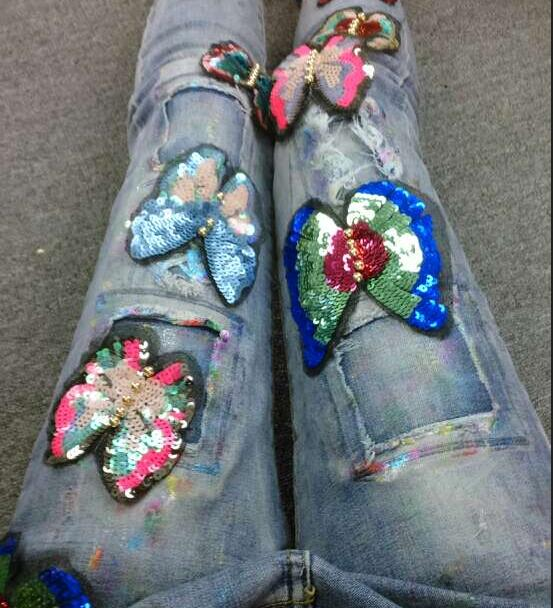 Personality Labeling Hole Feet And sequins embroidery patchwork butterfly attached female street Jeans D977