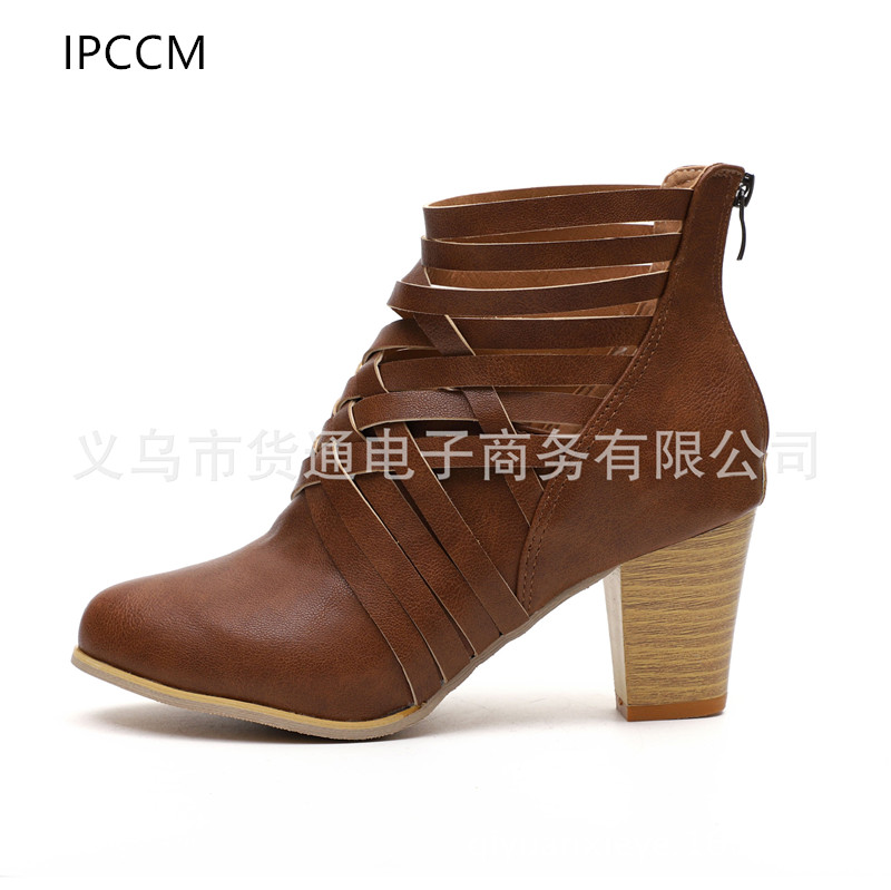 IPCCM2018 Spring And Autumn New European And American Large Size Women's Shoes Short Boots hollow High heel boots цена 2017