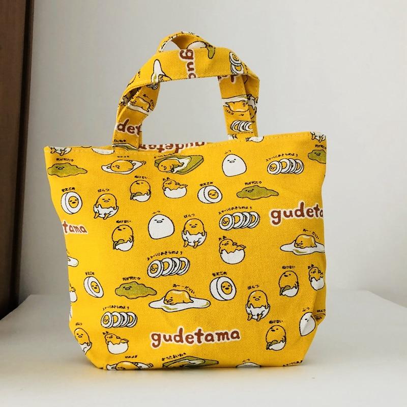Gudetama Lunch Bag Cartoon Cute Bags Canvas Picnic Travel Storage Bag Fashion Lunch Bags For Women Girls Ladies Kids Hot