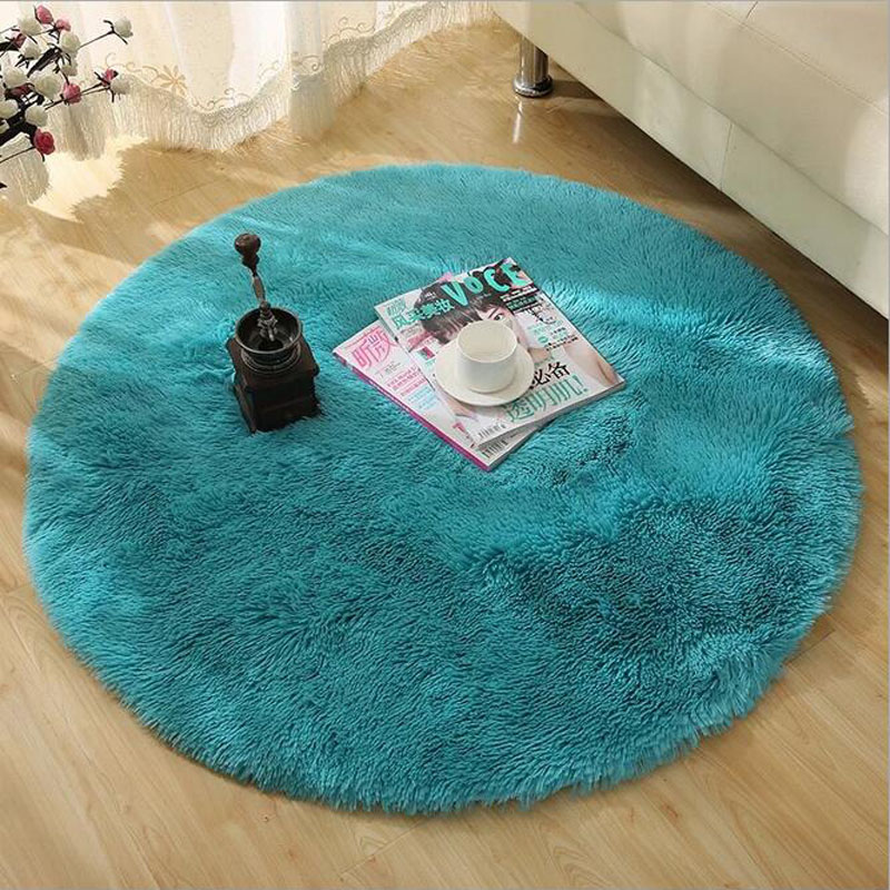 Soft Fluffy Thick Velvet Round Carpet 40-80cm Anti-skid  Floor Mat Bedroom Kitchen Doormat Carpet For Living Room Yoga Mat