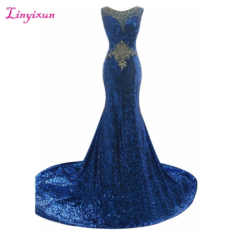 Linyixun Real Photo Mermaid Prom Dresses 2017 Luxury Beading Sequins Vestidos De Fiesta Scoop Neck Zipper