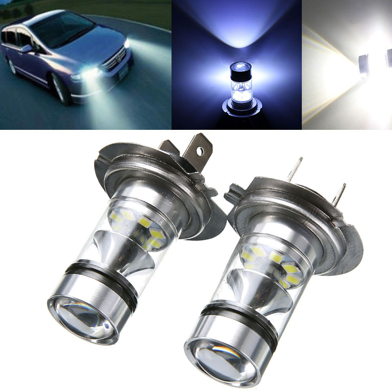 2x Universal H7 LED Light 100W LED White Car Fog Tail Driving Headlight Stop Parking Bulb Replacement For Turn Signal Lamp