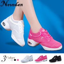 цена на New 2017 Modern Women Dance Sneakers Jazz Dance Shoes Mesh Breathable Salsa Shoes Tennis Sneakers