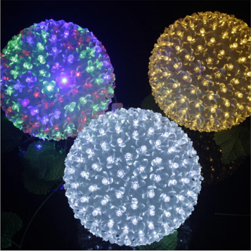 EU Plug 200 LED Cherry Blossoms Peach Flower Holiday Ball Light String Fairy Christmas Lighting AC110V 220V Sakura Garland Lamp