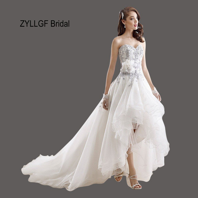 ZYLLGF Bridal Short Front Long Back Bridal Dresses