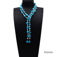 JYX Fine Turquoise necklace 16 17mm Blue Irregular Turquoise and natural White Freshwater Pearl Long Necklace 53 fashion design