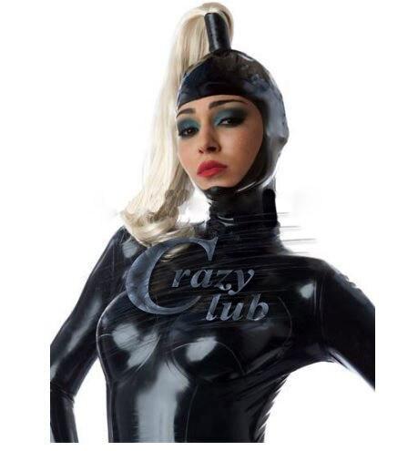 Crazy club_personnalisé Latex Sexy femmes Latex hottes avec perruque de serveuse personnalisé dos fermeture à glissière fétiche masque ouvert