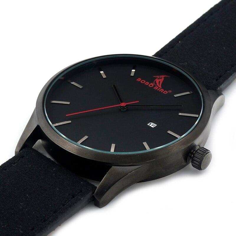 Image 4 - BOBOBIRD Top Luxury Brand Quartz Watches Business Military Men Watches Leather relogio masculino Leather Strap Clock-in Quartz Watches from Watches