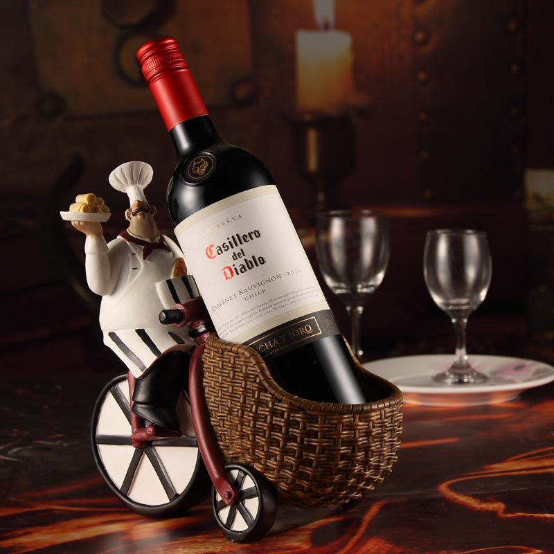 Bar Accessories Handmade Resin Wine Racks Chef Riding Model Cooker Bicycle Wine Holder Home Decor Christmas Gift For Friend