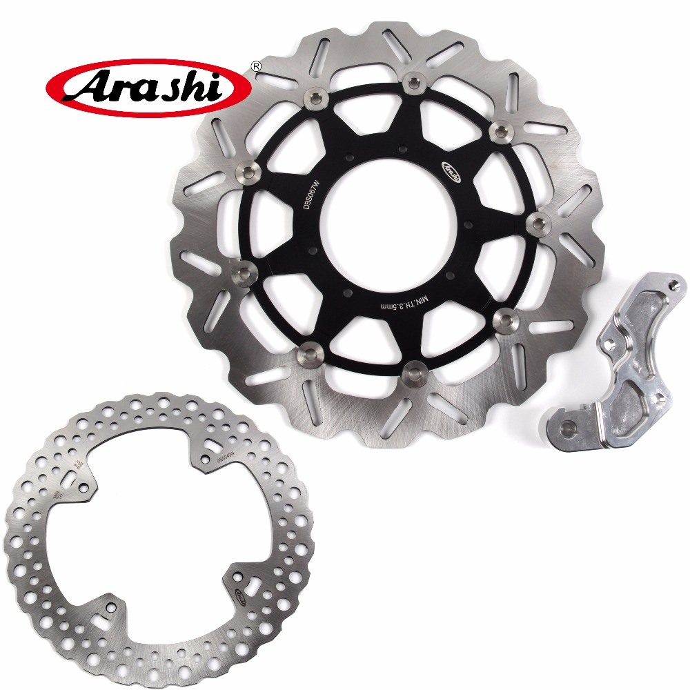Arashi 1 Set For HONDA CRF R 450 2002-2007 2008 2009 2010 2011 2012 2013 2014 CBF450R CNC Floating Front & Rear Brake Disc Rotor cnc rear wheel axle cover cap kit for 05 14 2005 2006 2007 2008 2009 2010 2011 2012 2013 2014 harley sportster 883 1200