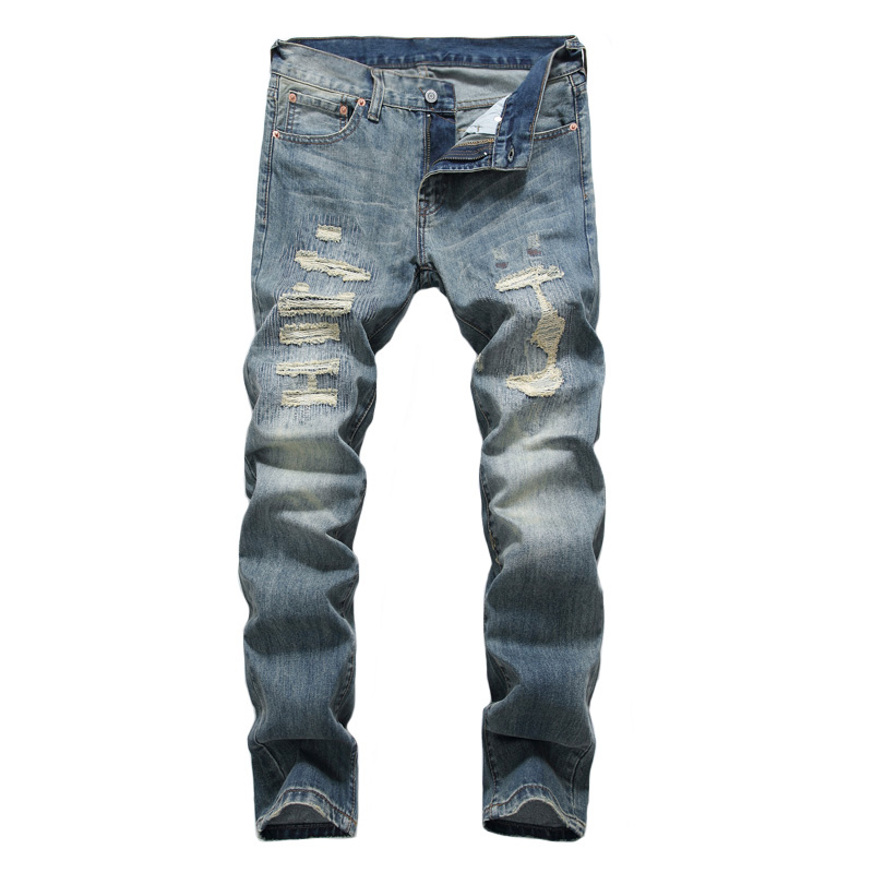 Japanese Style Fashion Men Jeans Retro Blue Destroyed Ripped Jeans For Men DSEL Pants Slim Fit Streetwear Hip Hop Jeans Homme