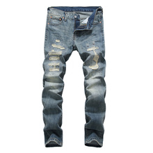 Japanese Style Fashion Men Jeans Retro Blue Destroyed Ripped For DSEL Pants Slim Fit Streetwear Hip Hop homme