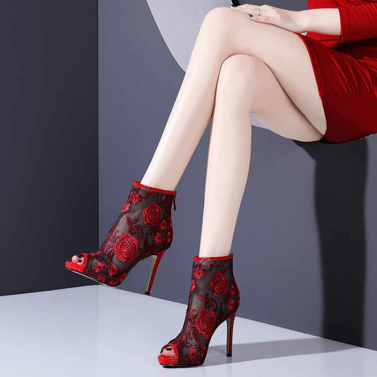 breathable mesh boots summer women ankle boots Lace Sexy high heels open toe sandals Fashion embroidery womens Wedding shoes