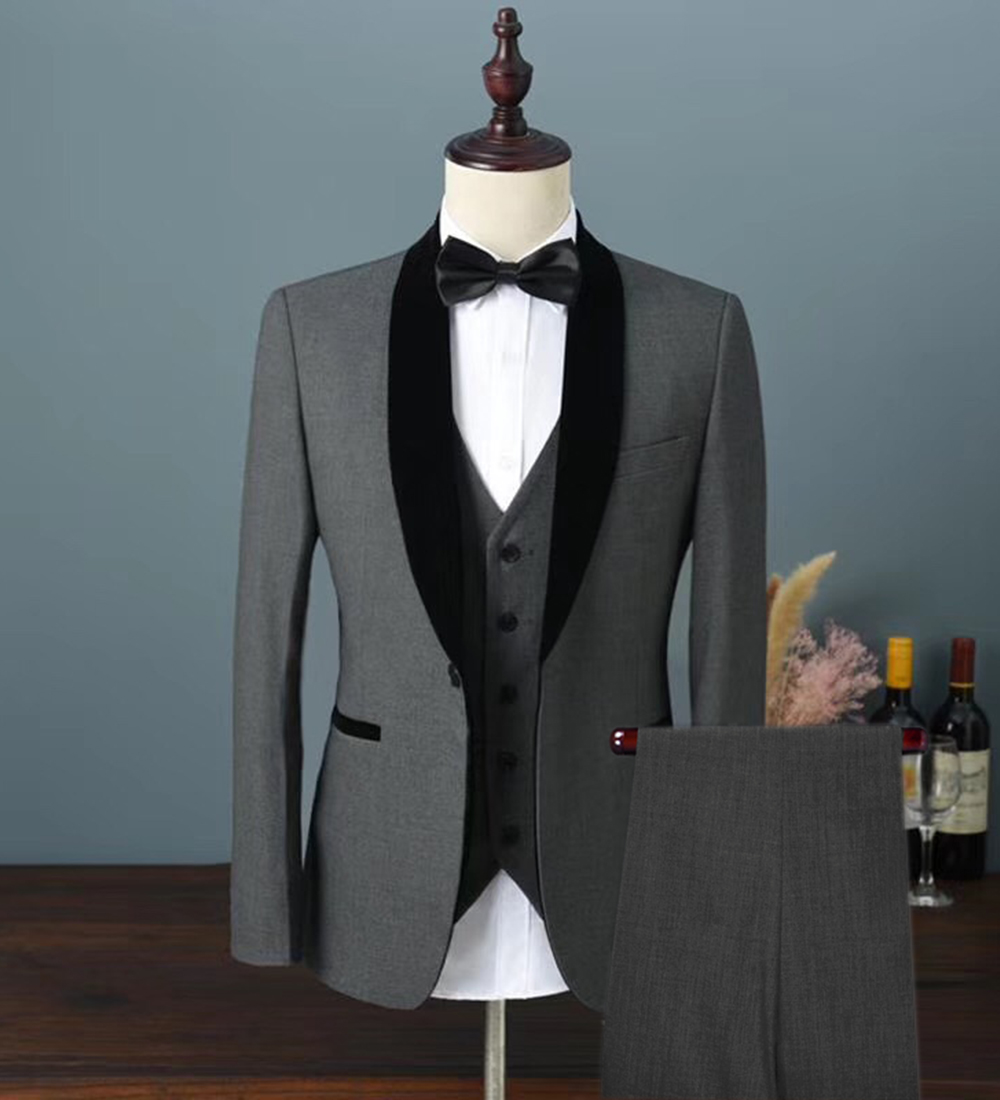 2019 Mens Velvet Suit 3 Pieces Slim Fit One Button Shawl Lapel Groomsmen Tuxedos Blazers For Wedding,Party (Blazer+Vest+Pants)