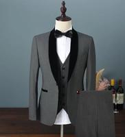 2020 Mens Velvet Suit 3 Pieces Slim Fit One Button Shawl Lapel Groomsmen Tuxedos Blazers For Wedding,Party (Blazer+Vest+Pants)