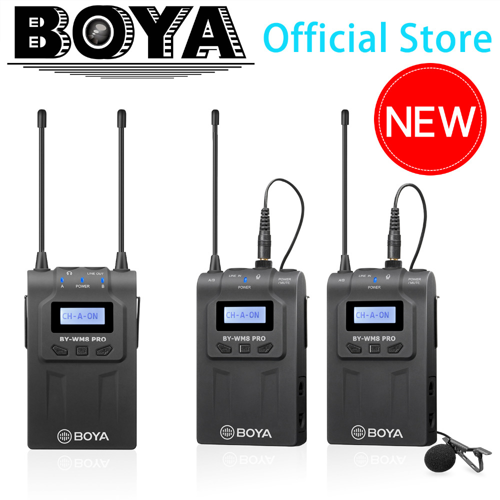 BOYA BY WM8 Pro K2 UHF Dual Channel Lavalier Wireless Microphone System with LCD Screen for