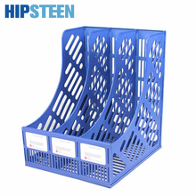 HIPSTEEN Three-grids Plastic File Storage Box Office Study Desktop Organizer Shelf for Books Documents
