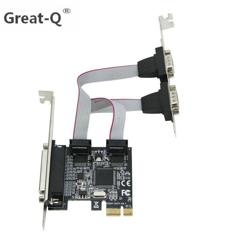 цена на Great-Q High qualtiy Moschip PCI express 2 Serial and 1 parallel port riser Card RS232 Printer port PCIe PCI-e Card