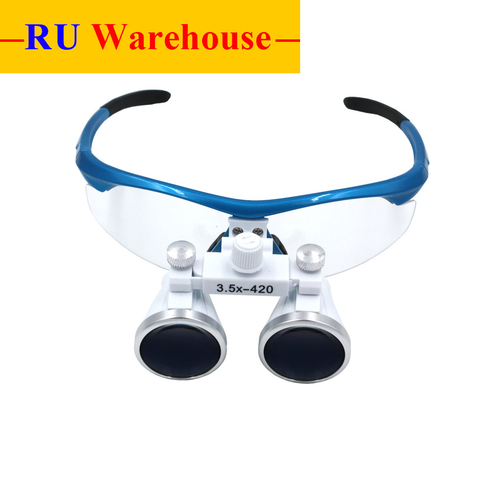 цены Dental Surgical Binocular Loupes Dental Magnifier Glasses 3.5X Magnification 320-420mm Working Distance 80mm Depth of Field