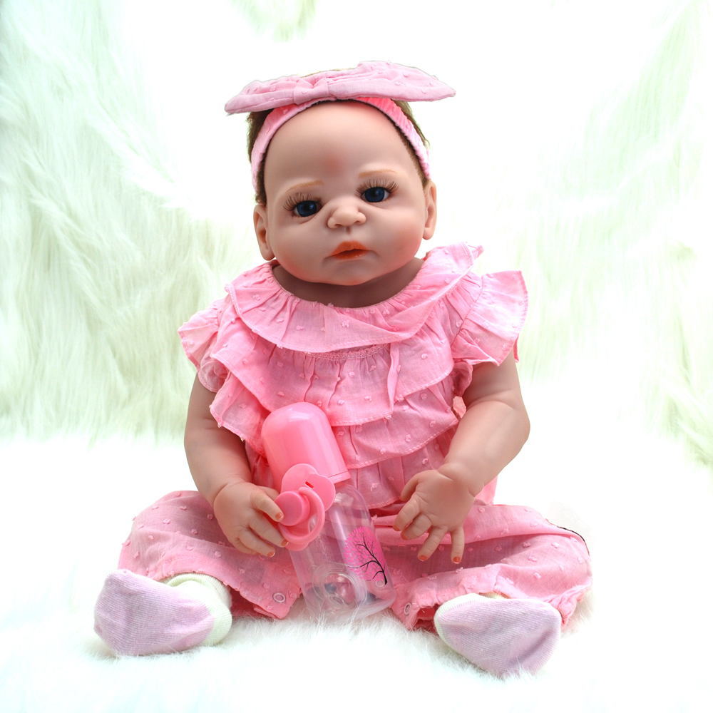 NicoSeeWonder 22 Inch Bonecas Bebe Reborn Baby Dolls Lifelike Full Silicone Reborn Toddler Toys Girl Doll With Pink Clothes Gift 70cm silicone reborn baby doll toys lifelike 28 inch big size princess toddler girl reborn dolls toys clothing shop model doll